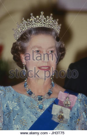 HM Queen Elizabeth II wearing full evening gown, tiara and jewels at a State Occasion in Barbados. 1989 - Stock Photo