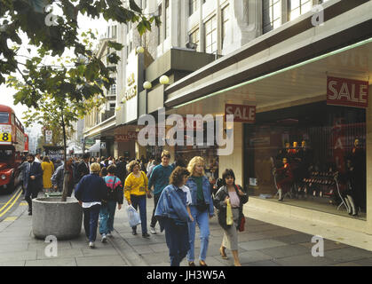 DH Evans department store sale, Oxford Street, London, England, UK. Circa 1980's - Stock Photo