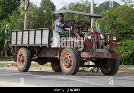 Vintage truck still in widespread use today in Myanmar. Modified from a WW2 ex British army Canadian Military Pattern - Stock Photo