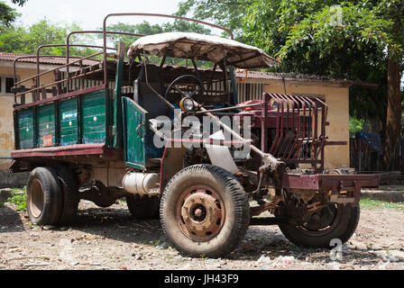 WW2 vintage truck still in widespread use in Myanmar. Modified from a British Army Canadian Military Pattern (CMP) - Stock Photo