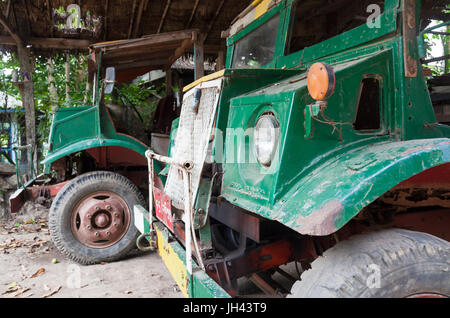 Vintage truck still in widespread use today in Myanmar. Modified from a WW2 ex British armyCanadian Military Pattern - Stock Photo
