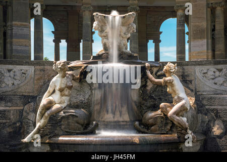 Hever, United Kingdom - June 18, 2015: Fountain in Hever castle Italian garden. Creation was inspired by the Trevi - Stock Photo