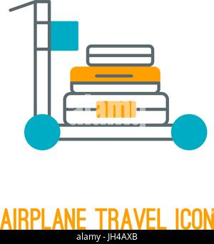 Vector illustration of airplane travel icon - Stock Photo