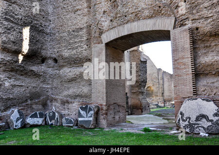 The ancient Baths of Caracalla or, Terme di Caracalla, in central Rome, Italy. - Stock Photo