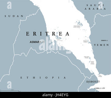 Eritrea political map with capital Asmara. State and country in the Horn of Africa with extensive coastline along - Stock Photo