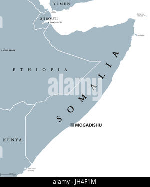 Somalia political map with capital Mogadishu. Federal republic and country in the Horn of Africa. Coastline along - Stock Photo