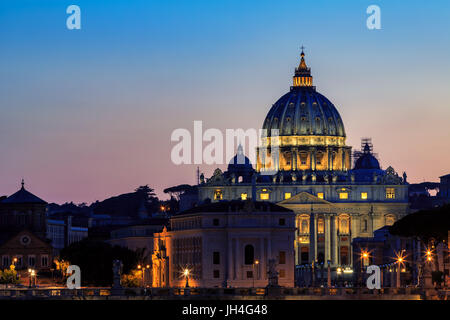 Saint Peter's Basilica at sunset, Rome, Italy - Stock Photo