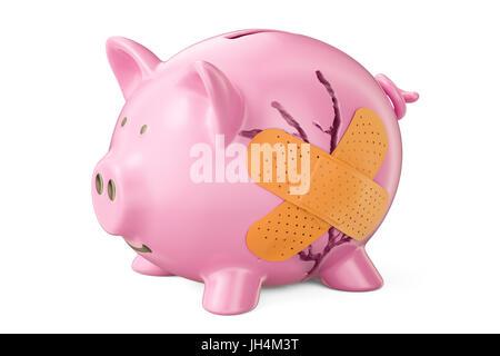 Broken piggy bank with adhesive plaster, 3D rendering