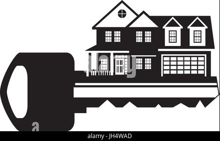 House Key Outline. Key To Two Level New House With Car Garage Black And  White