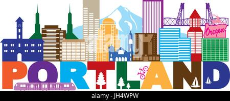 Portland Oregon Outline Silhouette with City Skyline Downtown Panorama and Text ColorIsolated on White Background - Stock Photo