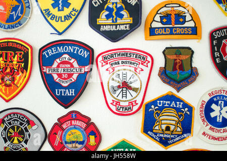 Emergency services patches on display. Main area is Utah - Stock Photo