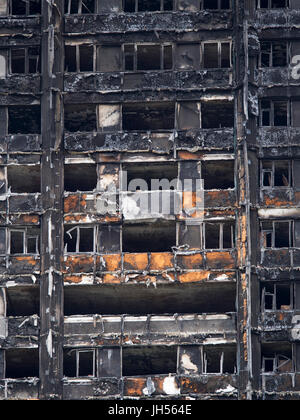 London, UK - Jul 4, 2017: Close up view of the Grenfell Tower block in which at least 80 people are thought to have - Stock Photo