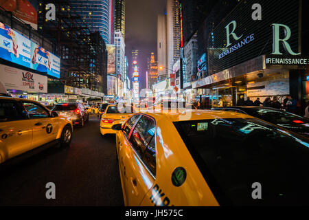 new york - circa march 2016 - cars on the times square - Stock Photo