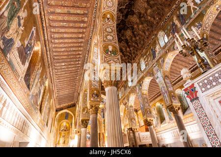 Cappella Palatina, Palatine Chapel,in  Palazzo Reale,  Palermo, Sicily, Italy - Stock Photo