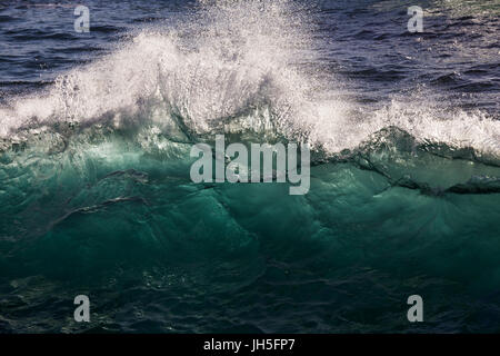 A cresting wave is back lit by bright sun light, revealing the luminous blue hue of the sea in this close up image. - Stock Photo