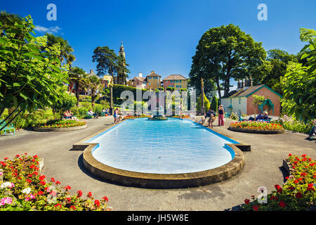 Portmeirion Fountain at Central Piazza in North Wales, UK - Stock Photo