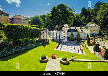 Giant Chessboard  in Central Piazza of Portmeirion Village in North Wales - Stock Photo