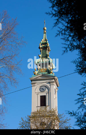 Tower of  Belgrade's main cathedral, Church of St. Michael the Archangel, built in the 1830s,  situated in the city - Stock Photo