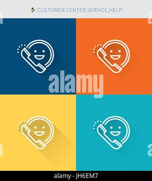 Thin thin line icons set of customer service center and help, modern simple style - Stock Photo
