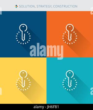 Thin thin line icons set of solution & strategy and construction , modern simple style - Stock Photo