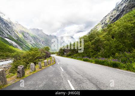 Norwegain mountain road - Stock Photo