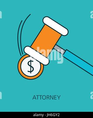 Attorney flat line icon concept - Stock Photo