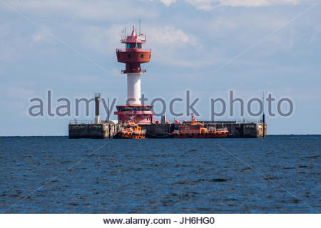 kiel lighthouse with maritime pilot station, bay of kiel, baltic sea, schleswig-holstein, germany - Stock Photo