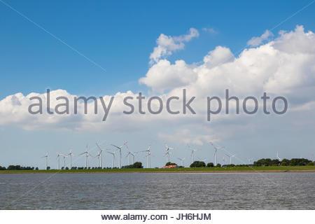 wind park near brunsbüttel at the end of kiel canal (nord-ostsee-kanal) at brunsbüttel, kreis dithmarschen, schleswig - Stock Photo