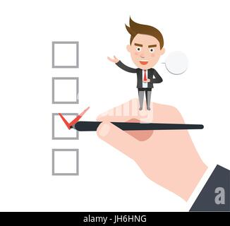 Funny flat character check concept - Stock Photo