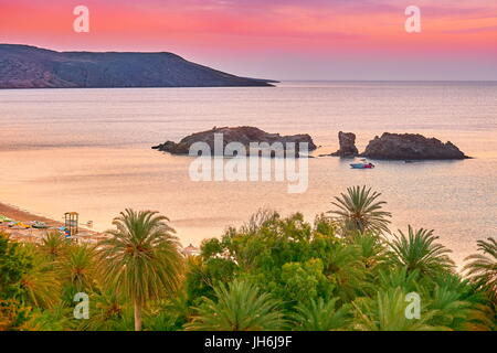 Crete Island- Vai Beach before sunrise, Greece - Stock Photo