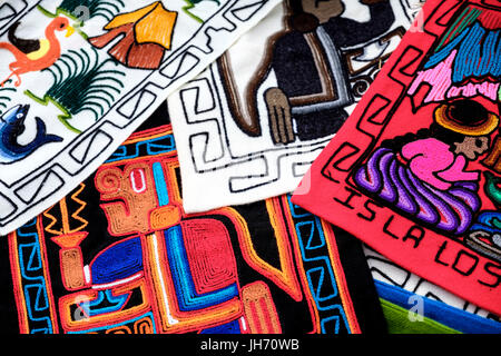 UROS ISLANDS, PERU - CIRCA October 2015: Typical textiles from the Uros Islands in Lake Titicaca - Stock Photo