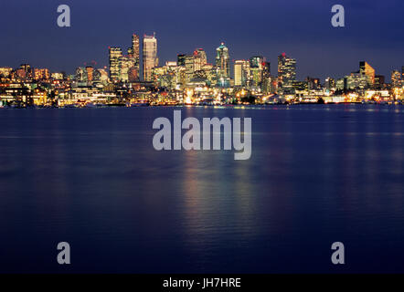Downtown view at dusk, Gas Works Park, Seattle, Washington - Stock Photo