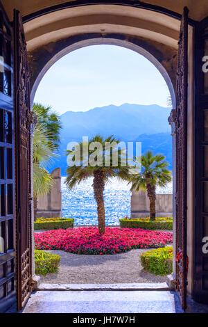 Gardens of the Palazzo dei Capitani in Malcesine - Stock Photo