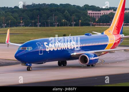 Southwest Airlines jet (Boeing 737-8H4) at Hartsfield-Jackson Atlanta International Airport in Atlanta, Georgia, - Stock Photo