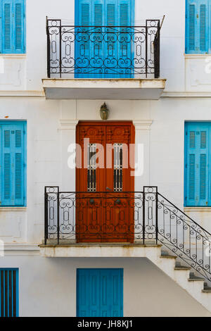 Facade of a typical old building in Skopelos town, Greece. - Stock Photo