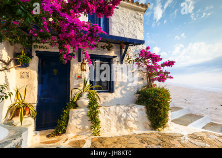 Facade of an old building in Skopelos town, Greece. - Stock Photo
