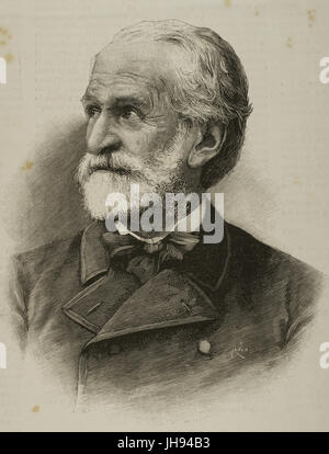 Giuseppe Verdi (1813-1901). Italian composer. Engraving by Rico in The Spanish and American Illustration, 19th century. Stock Photo