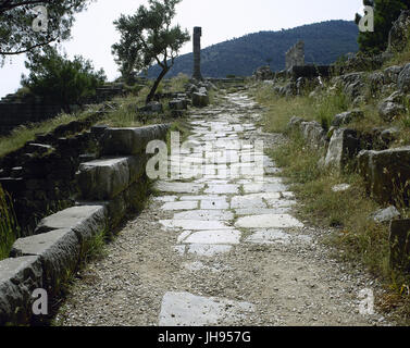 Turkey. Priene. Ancient Greek city of Ionia. Theater route. Anatolia. - Stock Photo