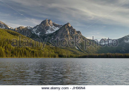 Sunset over McGown Peak and Stanley Lake, Sawtooth Mountains, Idaho - Stock Photo