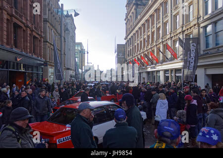 Glasgow Scotland  UK start point for the 2013 Monte Carlo Rally. pre rally show and tell in Buchanan street - Stock Photo