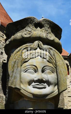The medieval city of Carcassonne, Dame Carcas, Aude, Occitanie, France - Stock Photo