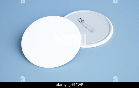3d rendering of white pin badge - Stock Photo