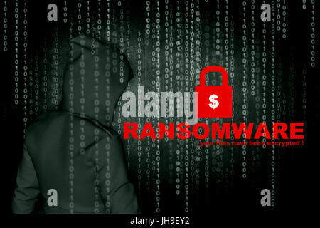 Ransomware,Computer hacker or Cyber attack concept background,3d illustration - Stock Photo