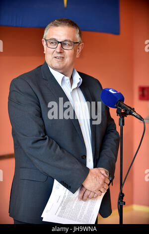 Zlin, Czech Republic. 13th July, 2017. State Veterinary Administration head Zbynek Semerad attends the press conference - Stock Photo
