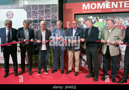 Munich, Germany. 13th July, 2017. Former soccer players Jean-Marie Pfaff (left to right), Klaus Augenthaler, Franz - Stock Photo