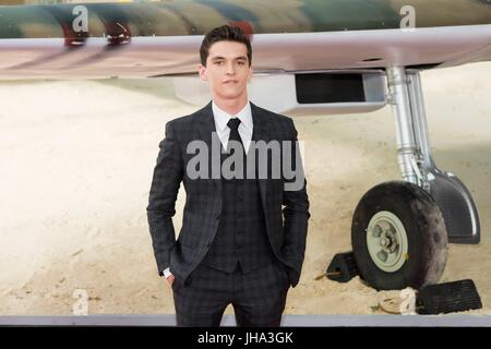 London, United Kingdom Of Great Britain And Northern Ireland. 13th July, 2017. Fionn Whitehead attends the World - Stock Photo