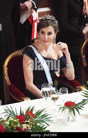 London, UK, Spain. 14th July, 2017. Queen Letizia of Spain attends a Dinner hosted by Sadiq Khan, Mayor of the City - Stock Photo