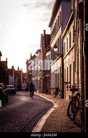 Bruges, Belgium. 8th June, 2015. A man bikes at sunset on a side street in Bruges, Belgium. Credit: Alex Edelman/ZUMA - Stock Photo