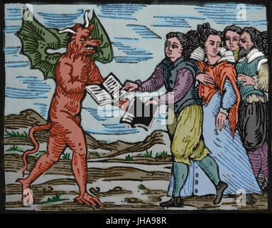 Sorcerer exchanging the Gospel for a book of black magic. Engraving by Compendium Maleficarum, 17th century. - Stock Photo