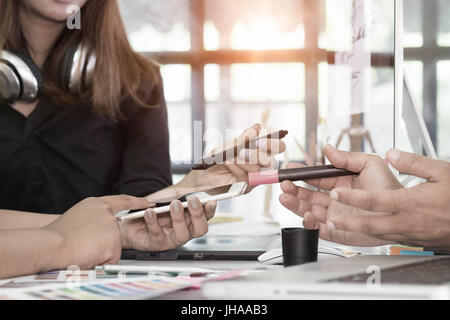 designer graphic creative creativity work talking designing artist coloring colour ideas planing for a concept working - Stock Photo